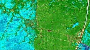 LIDAR image of Sutton Bridge and Long Sutton