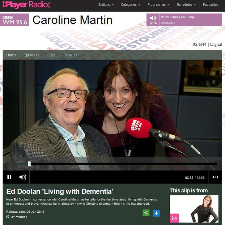 Caroline Martin talking to Ed Doolan about dementia