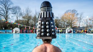 A swimmer at Tooting Bec Lido