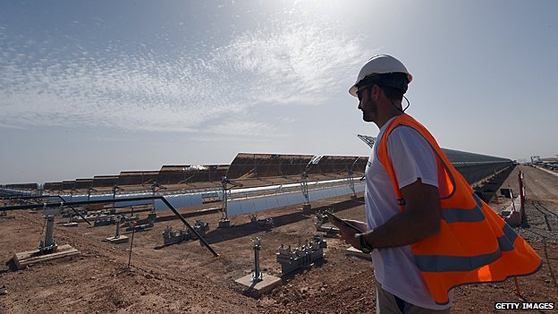This solar array is in Morocco, but harnessing solar power doesn't ...