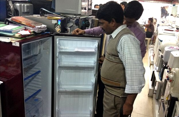 Santosh choosing a fridge