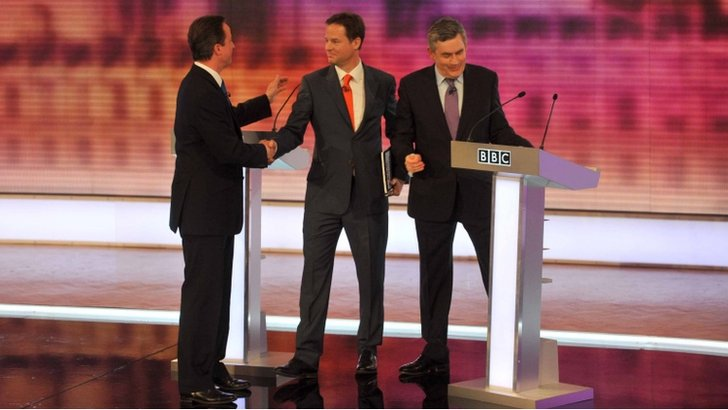 Nick Clegg, Gordon Brown and David Cameron