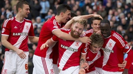 Middlesbrough celebrate Patrick Bamford's goal against Manchester City