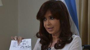 Cristina Fernandez de Kirchner addresses the nation. Photo: 26 January 2015