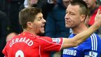 Liverpool captain Steven Gerrard with Chelsea counterpart John Terry