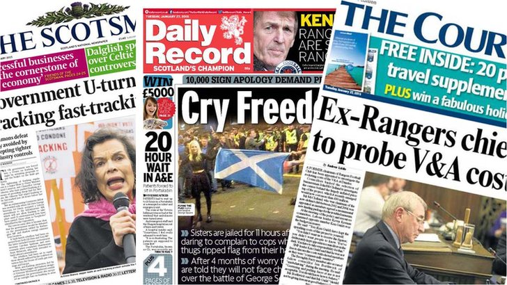 Newspaper front pages 27 January