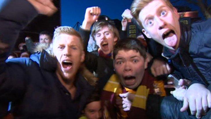 Bradford City fans celebrate