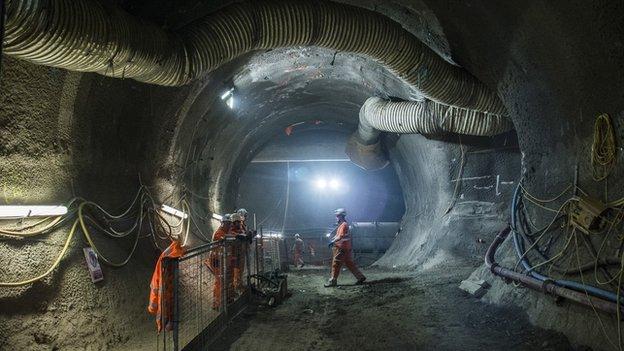 Workman underground at Farringdon's Crossrail station