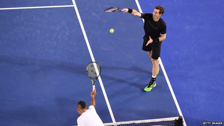 Andy Murray in quarter final action against Nick Kyrgios at the Australian Open