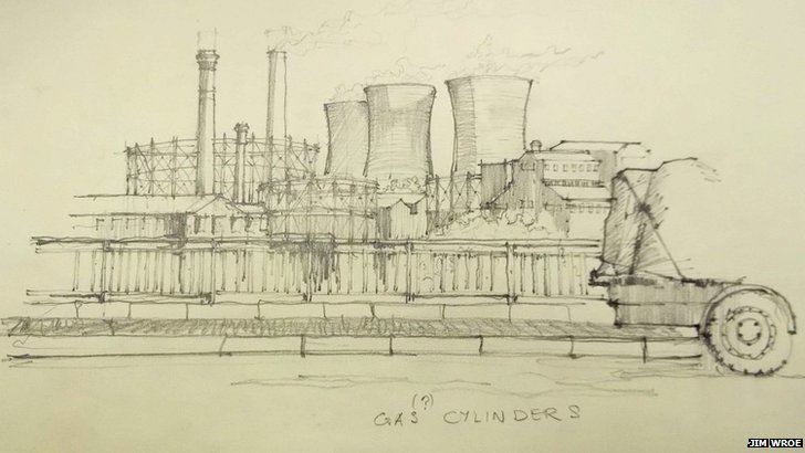 Gas cylinders sketch by Jim Wroe
