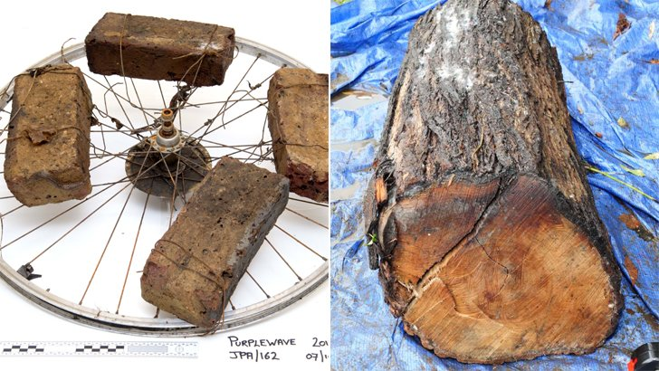 Bricks and logs used to weigh down Alice's body