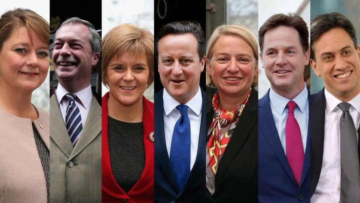 L-R: Leanne Wood (Plaid Cymru), Nigel Farage (Ukip), Nicola Sturgeon (SNP), David Cameron (Conservative), Natalie Bennett (Green Party), Nick Clegg (Liberal Democrat), Ed Miliband (Labour).