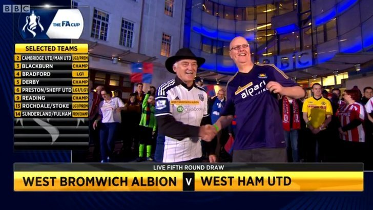 West Brom and West Ham fans shake hands