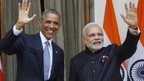 President Barack Obama with Indian Prime Minister Narendra Modi in Delhi, India, Jan. 25, 2015