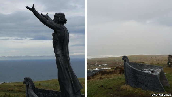 The Manannán Mac Lir statue at the viewing point on Binevenagh Mountain has been stolen