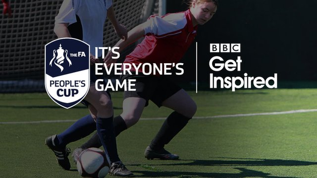 image of two women playing football under the FA People's Cup & Get Inspired logo