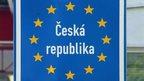 A sign marking the Czech border