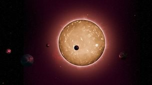 Illustration of Kepler-444 and associated system of planets