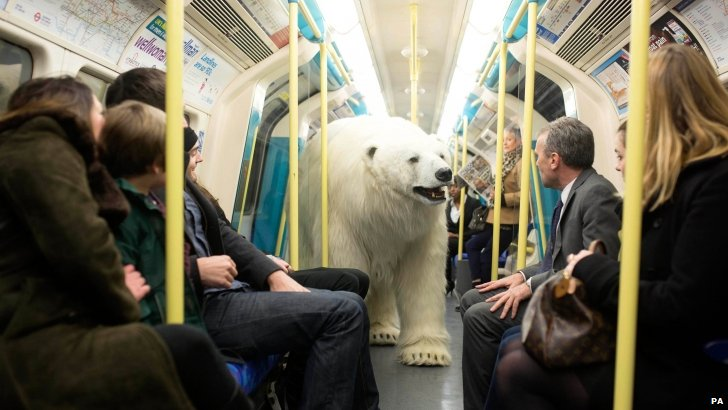 Animatronic polar bear on the Tube