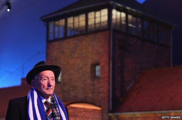 Yuda Widawski, 96, who is among the oldest survivors of the Auschwitz concentration camp, arrives for ceremonies at the Auschwitz-Birkenau site, 27 January
