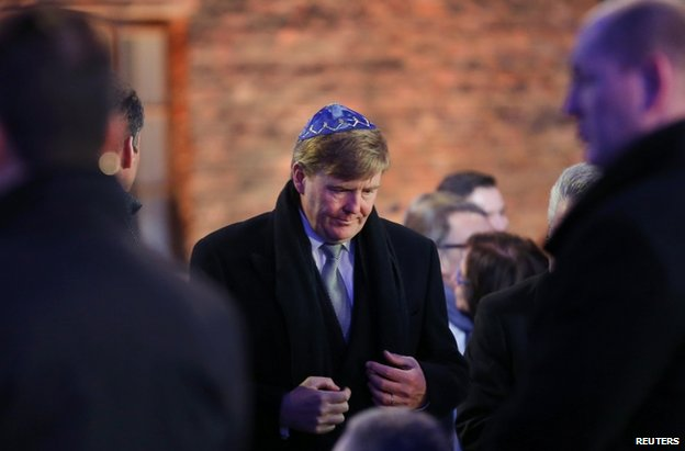 Dutch King Willem Alexander (C) arrives at Auschwitz-Birkenau, 27 January