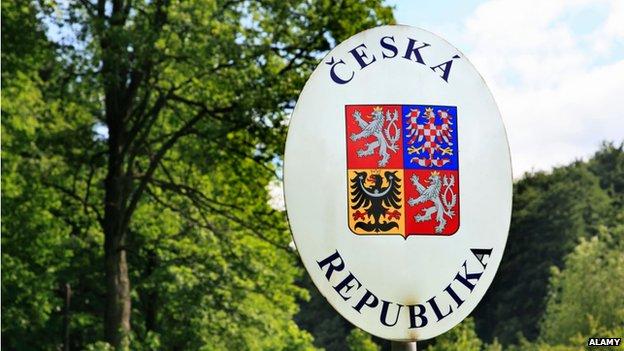 Czech Republic border sign
