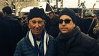 Johnny Pekats and his son Todd at Auschwitz.