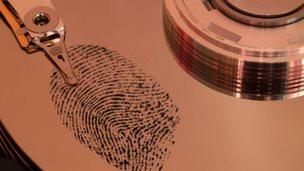 Fingerprint on hard drive platter