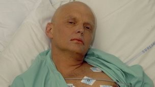 Alexander Litvinenko in hospital ward prior to his death