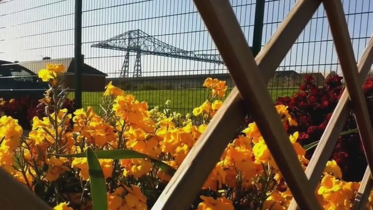 Flowers and the Middlesbrough Transporter Bridge