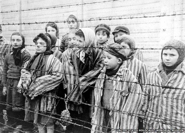 Child survivors at Auschwitz
