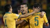 Australia celebrate their second goal