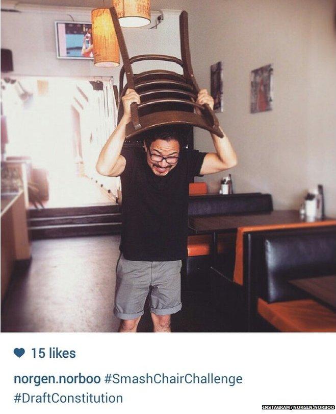 Instagram photo of Norgen Norboo's #SmashChairChallenge