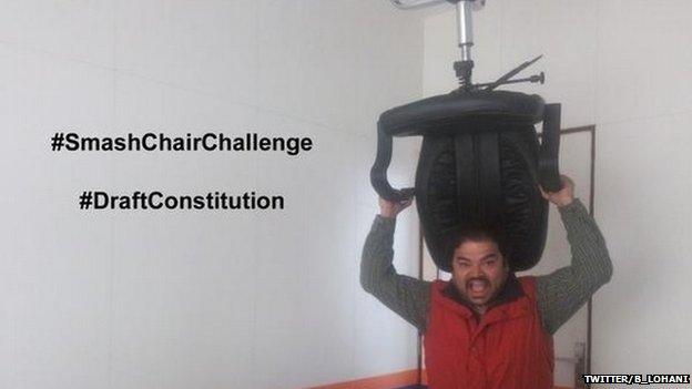 Tweet from Bigyan Lohani about his #SmashChairChallenge