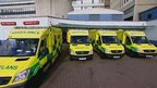Ambulances at a hospital
