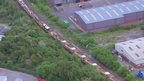 Aerial shot of ballast cleaner train