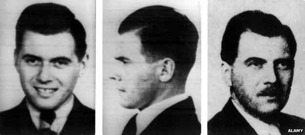 Joseph Mengele. The photos on the left and in the centre show Mengele in 1938, the picture on the right was taken in 1956 (c) Alamy
