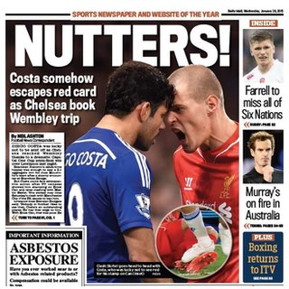 The back page of Wednesday's Daily Mail