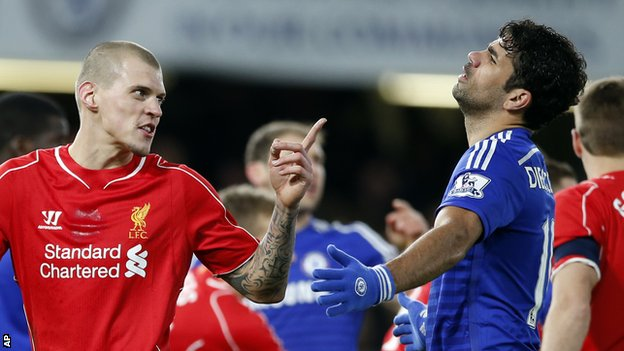 Chelsea's Diego Costa and Liverpool's Martin Skrtel
