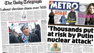 Telegraph/Metro front pages