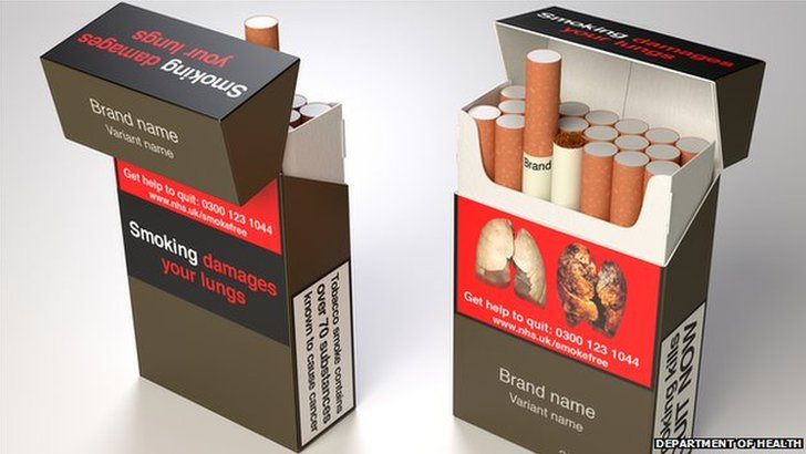 Department of Health images of how standardised packaging may look
