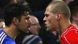 Chelsea striker Diego Costa and Liverpool defender Martin Skrtel