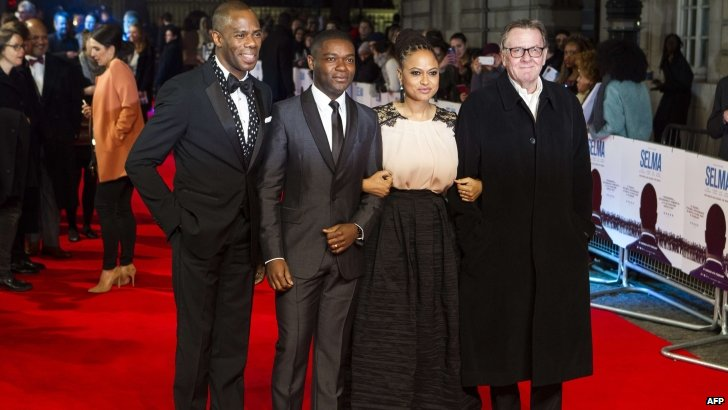 Actors Domingo Colman, British David Oyelowo, director Ava DuVernay and actor Tom Wilkinson