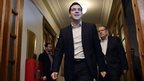 Newly elected Greek Prime Minister Alexis Tsipras arrives for his first cabinet meeting.