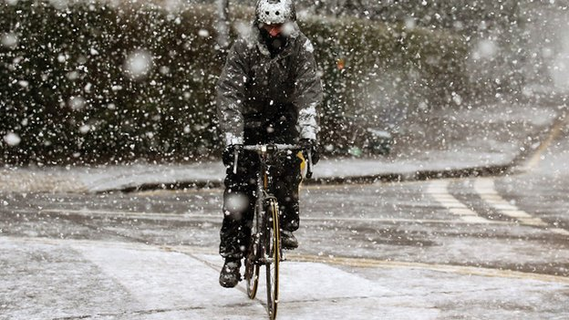 Cyclist in snow