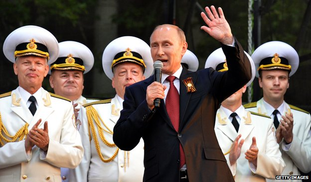 Russian President Vladimir Putin speaks during his visit to the Crimean port of Sevastopol on May 9, 2014.