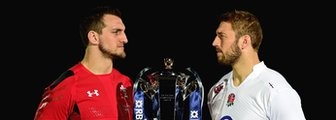 Wales captain Sam Warburton and England skipper Chris Robshaw with Six Nations trophy