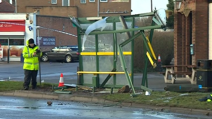 Smashed bus stop on Sinfin Lane