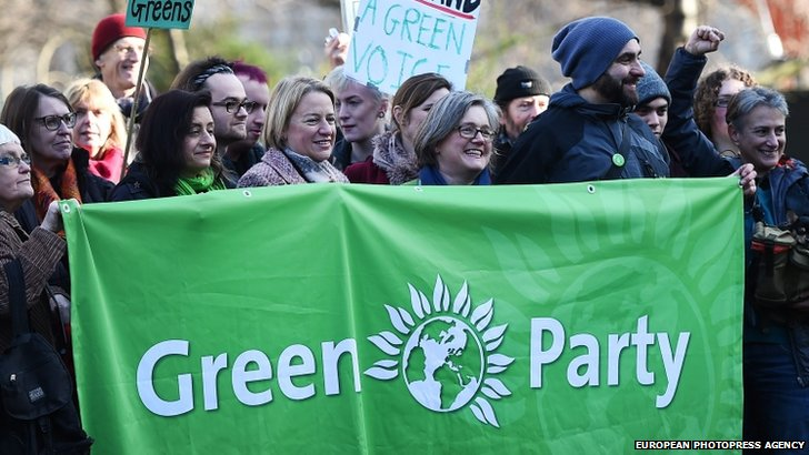 Natalie Bennett and Green Party supporters