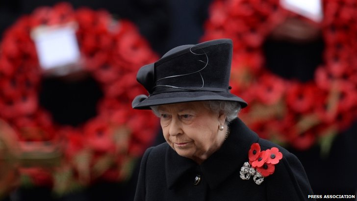 The Queen at the Cenotaph memorial service